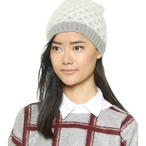 Club Monaco Clodia  White and Gray Beanie Hat